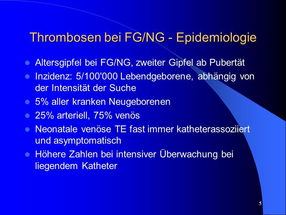 Thrombosen bei FG/NG - Epidemiologie