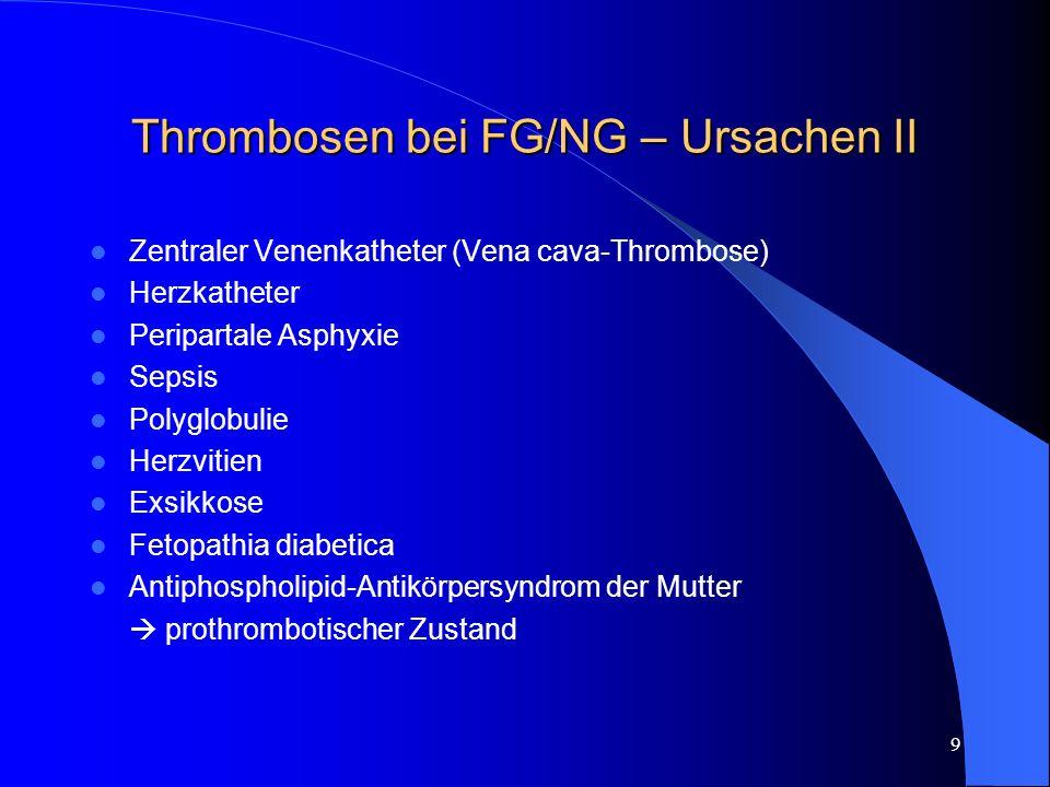 Thrombosen bei FG/NG – Ursachen II