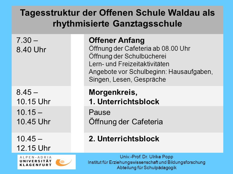 Tagesstruktur der Offenen Schule Waldau als rhythmisierte Ganztagsschule