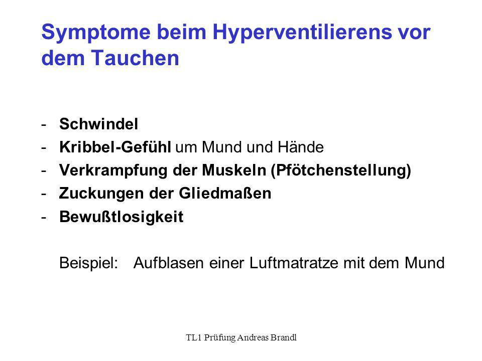 Symptome beim Hyperventilierens vor dem Tauchen