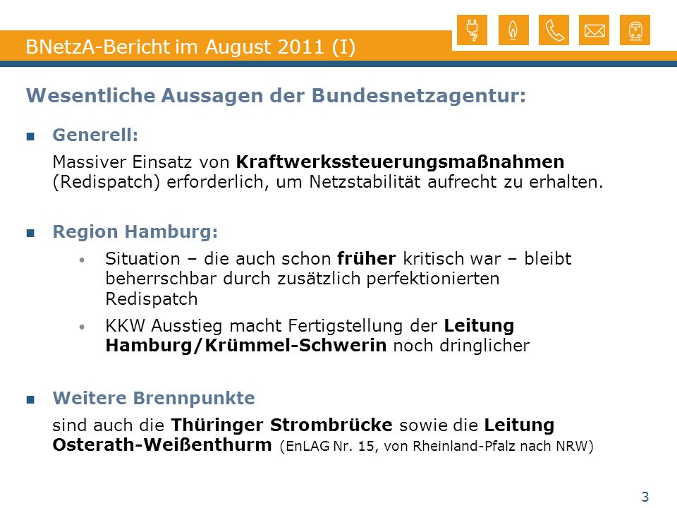 BNetzA-Bericht im August 2011 (I)