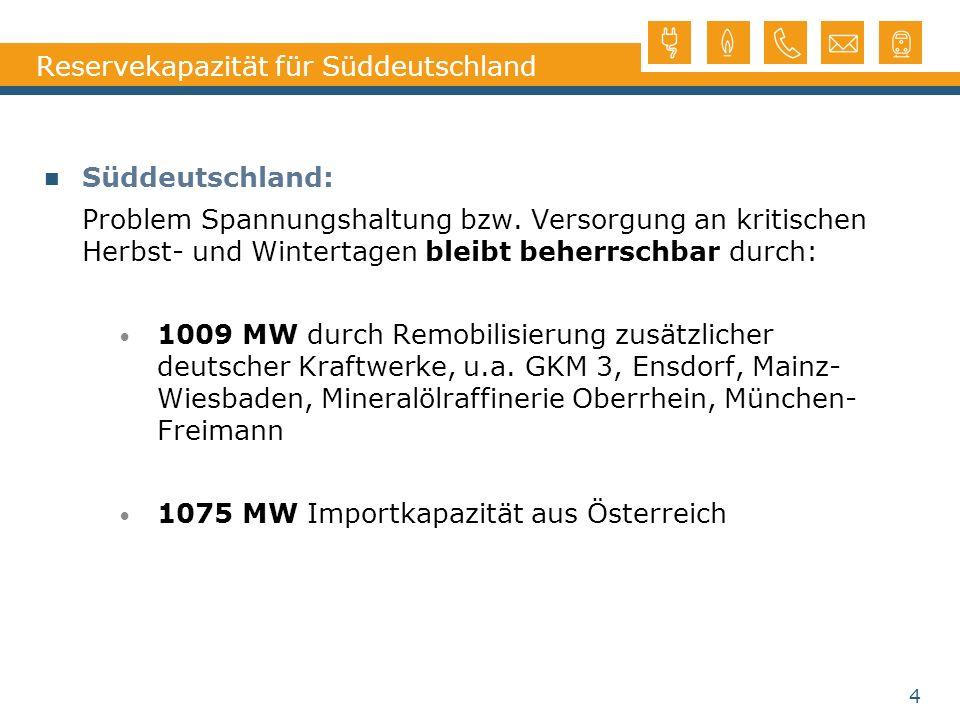Reservekapazität für Süddeutschland