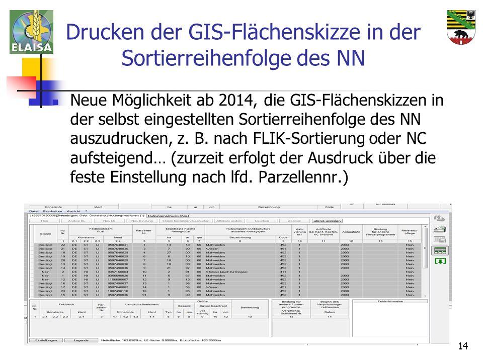 Drucken der GIS-Flächenskizze in der Sortierreihenfolge des NN