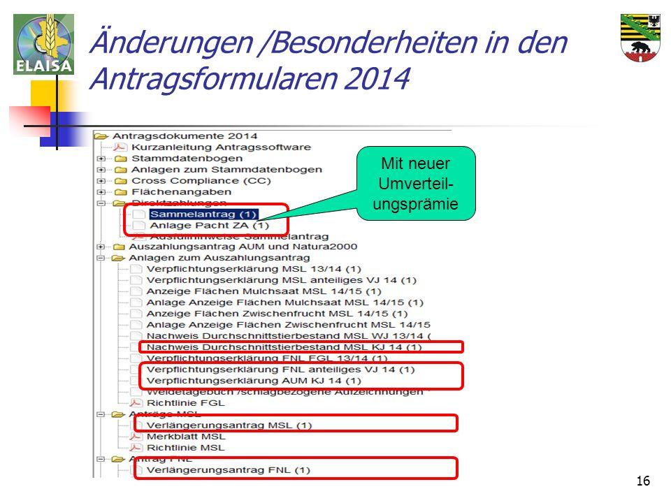 Änderungen /Besonderheiten in den Antragsformularen 2014