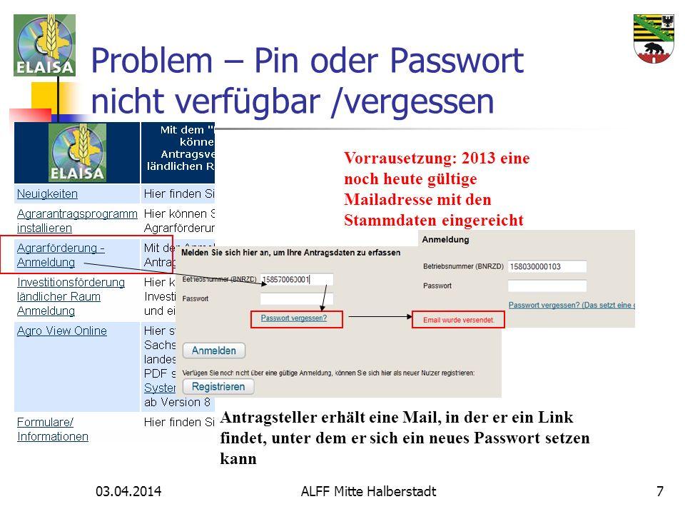 Problem – Pin oder Passwort nicht verfügbar /vergessen