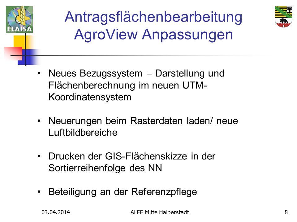 Antragsflächenbearbeitung AgroView Anpassungen