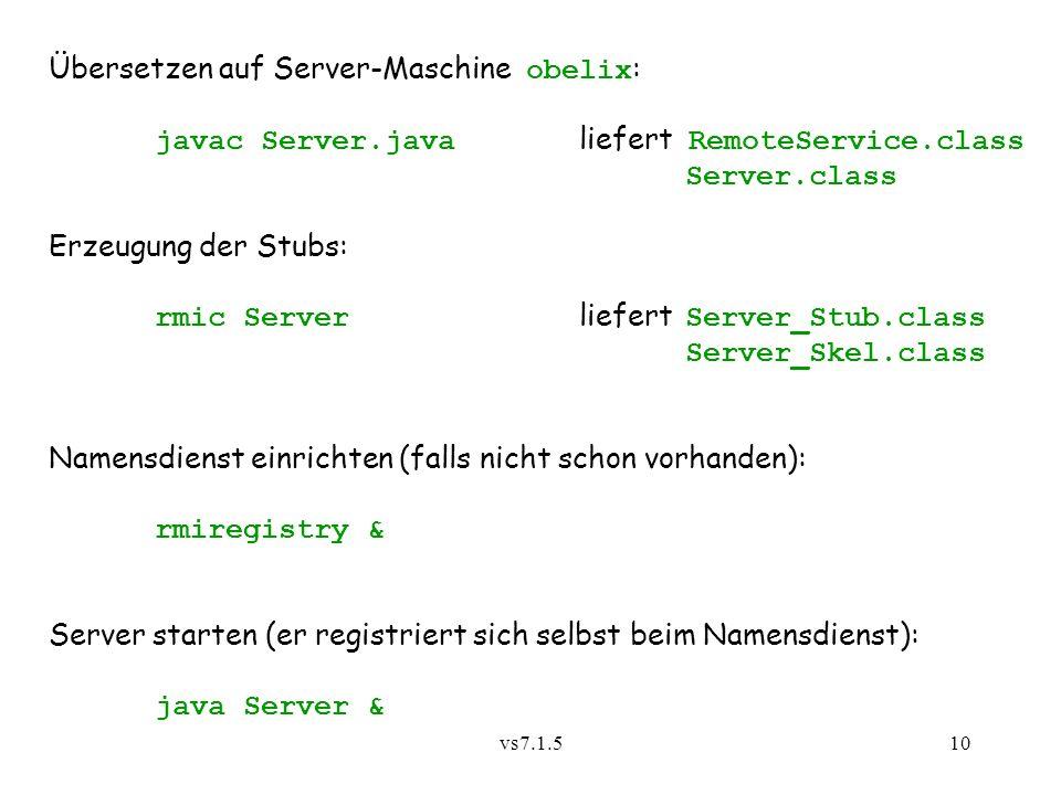 Übersetzen auf Server-Maschine obelix:
