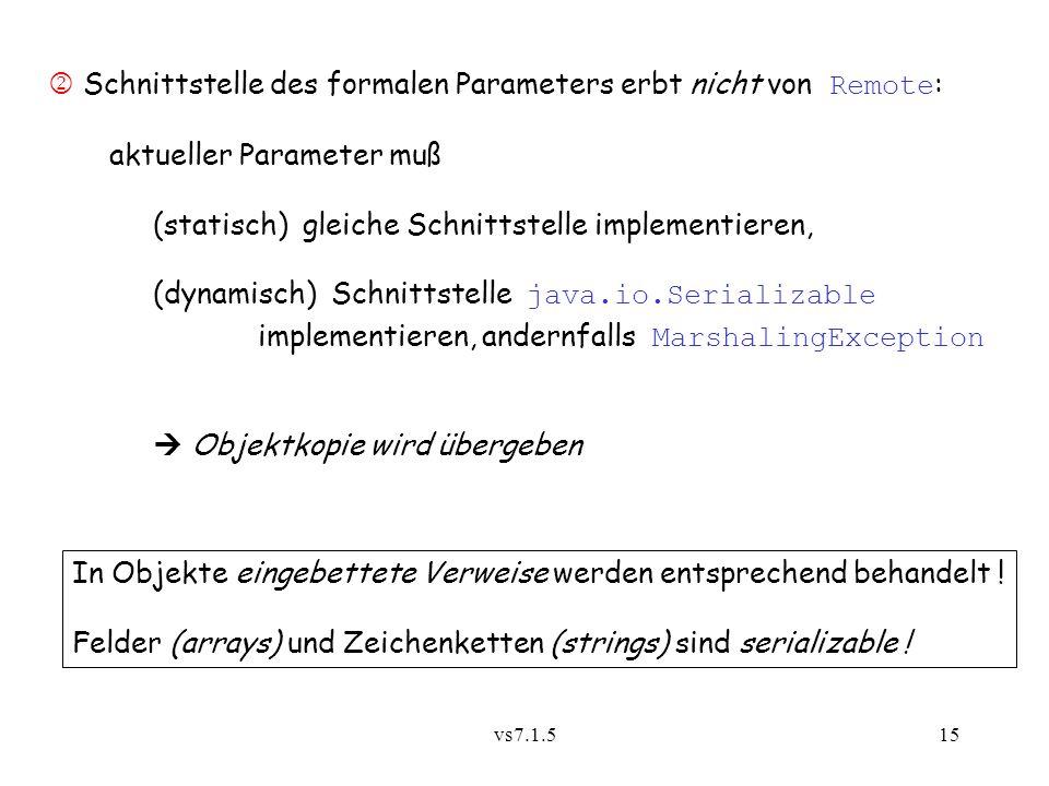  Schnittstelle des formalen Parameters erbt nicht von Remote: