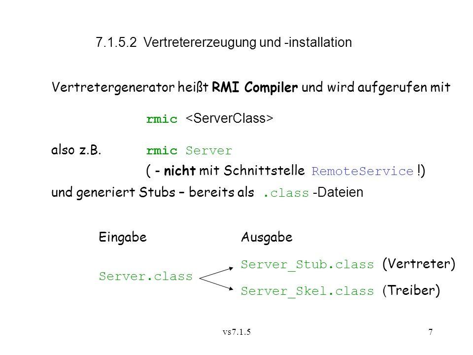 7.1.5.2 Vertretererzeugung und -installation