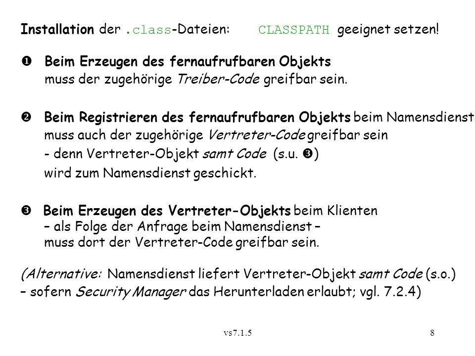 Installation der .class-Dateien: CLASSPATH geeignet setzen!