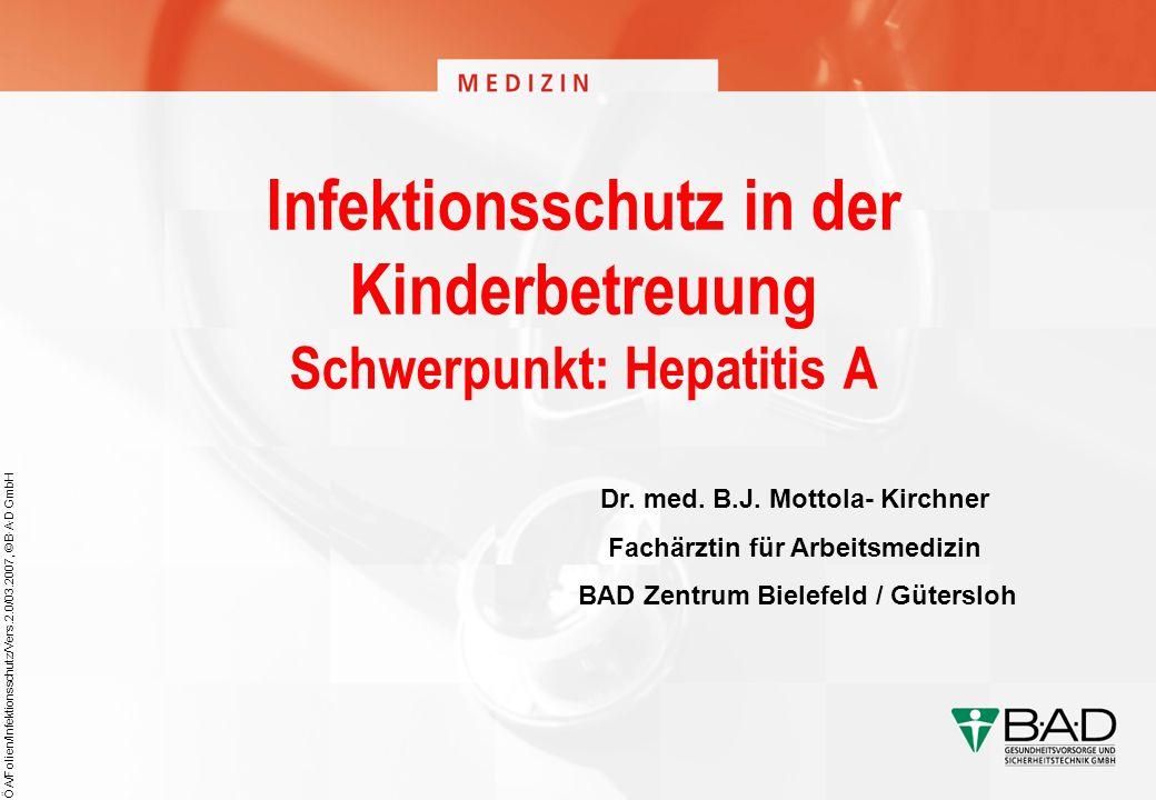 Infektionsschutz in der Kinderbetreuung Schwerpunkt: Hepatitis A