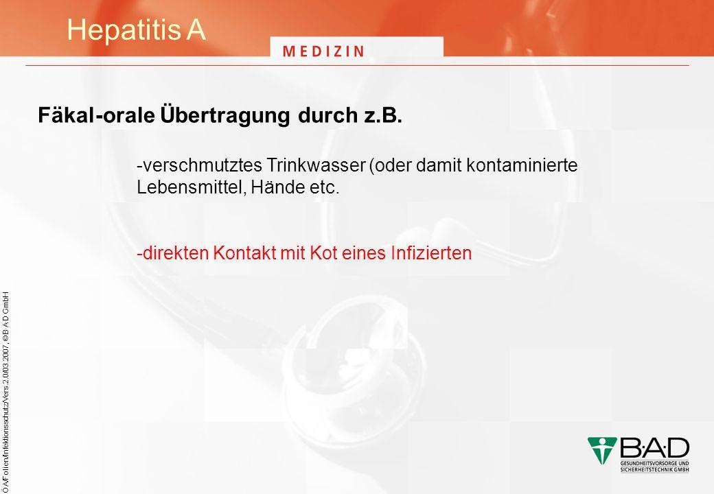 Hepatitis A Fäkal-orale Übertragung durch z.B.