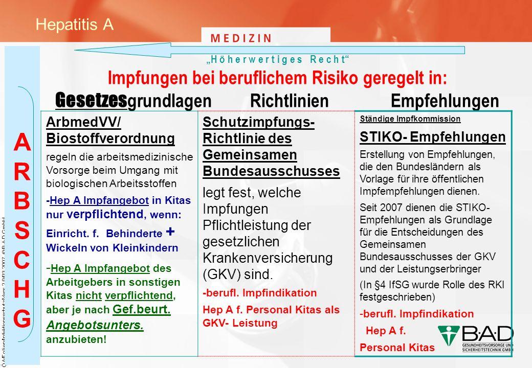 A R B S C H G Hepatitis A ArbmedVV/ Biostoffverordnung