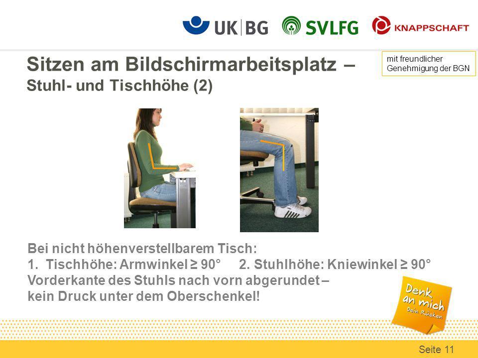 Sitzen am Bildschirmarbeitsplatz – Stuhl- und Tischhöhe (2)