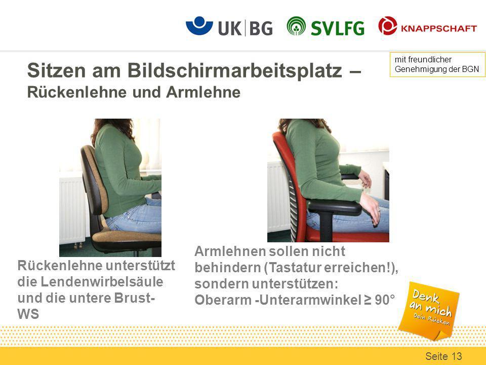 Sitzen am Bildschirmarbeitsplatz – Rückenlehne und Armlehne