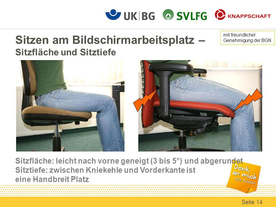 Sitzen am Bildschirmarbeitsplatz – Sitzfläche und Sitztiefe