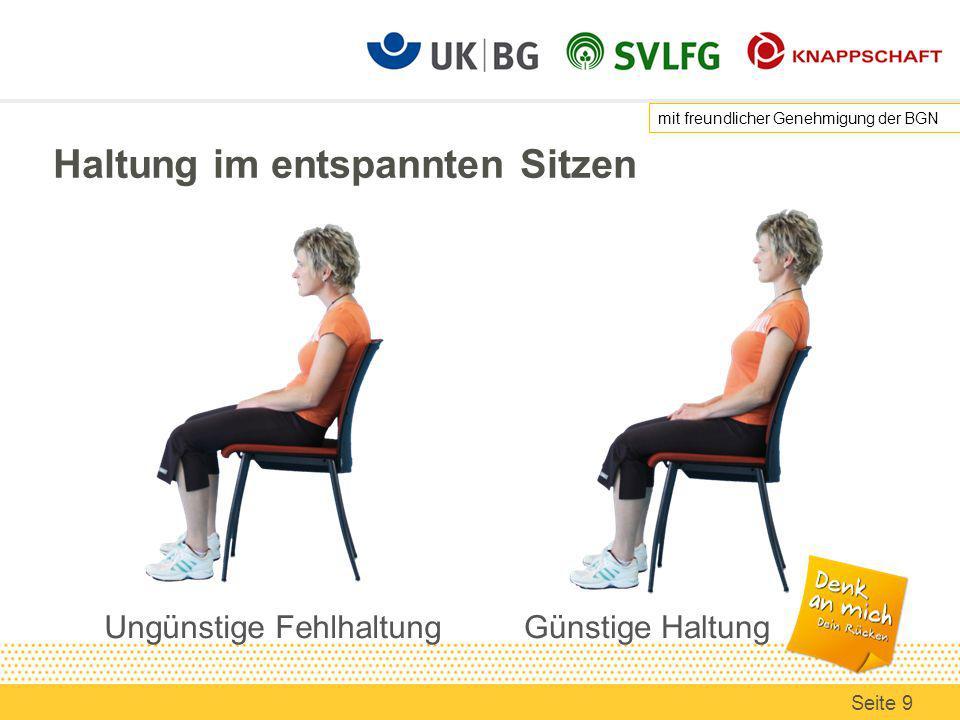Haltung im entspannten Sitzen