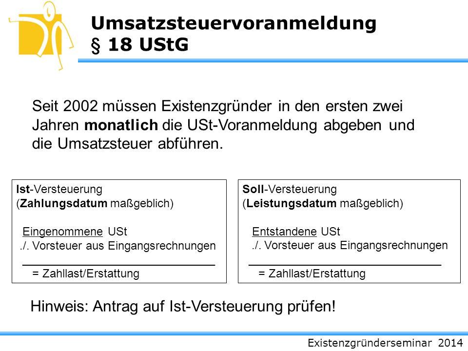 Umsatzsteuervoranmeldung § 18 UStG