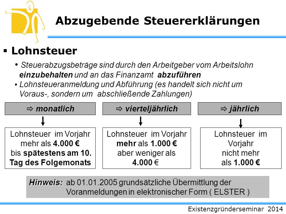 Abzugebende Steuererklärungen