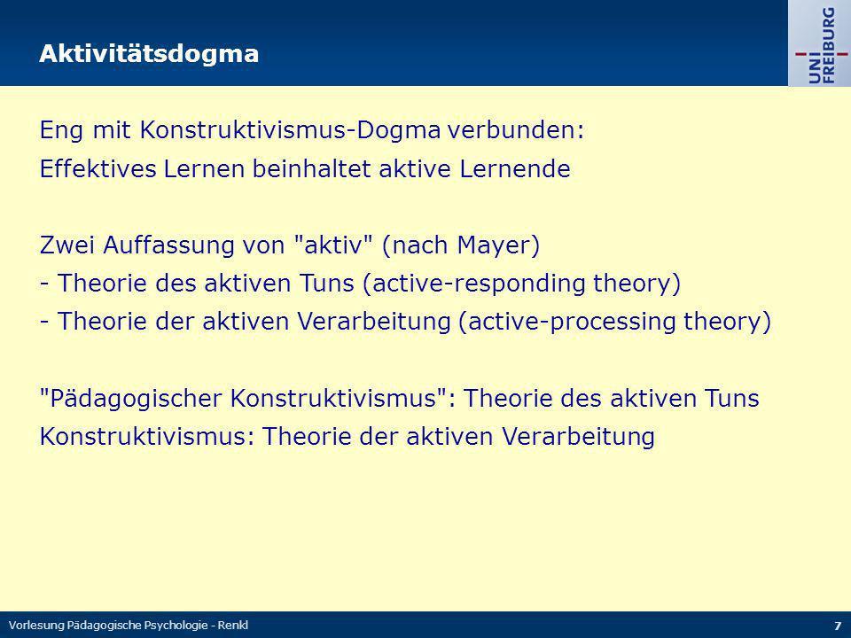 Eng mit Konstruktivismus-Dogma verbunden: