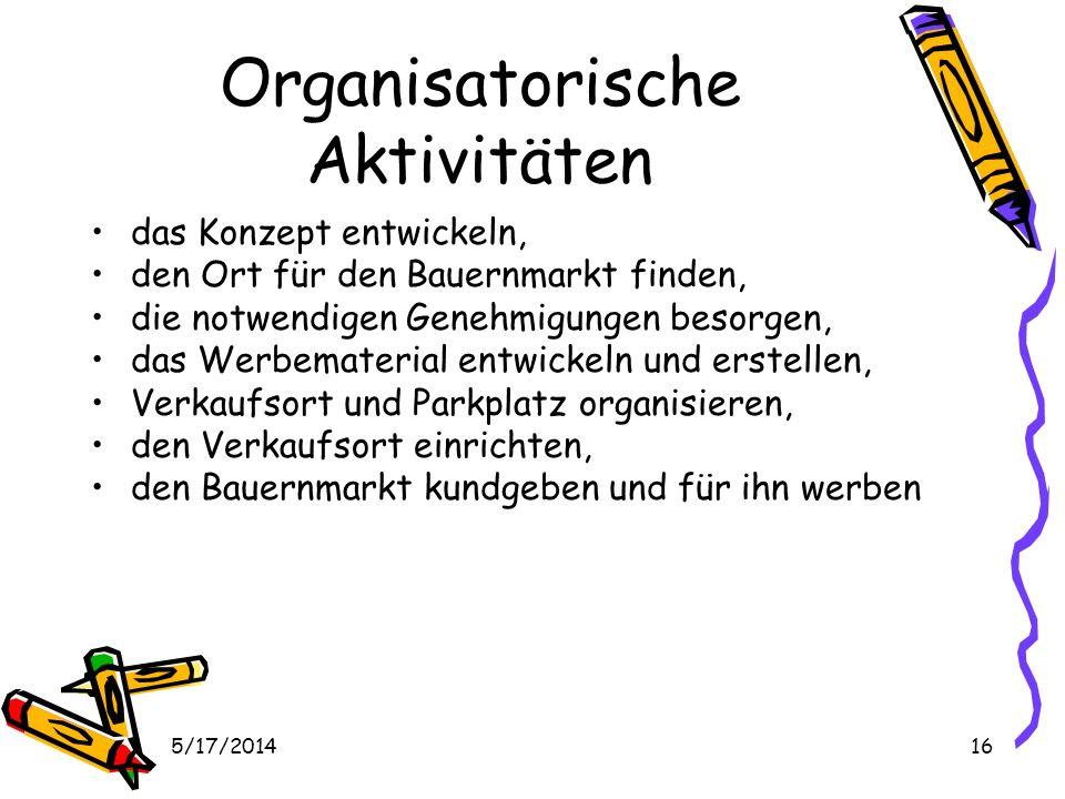 Organisatorische Aktivitäten