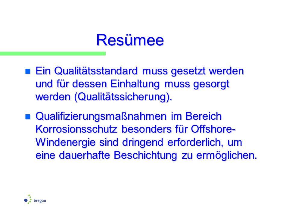 Resümee Ein Qualitätsstandard muss gesetzt werden und für dessen Einhaltung muss gesorgt werden (Qualitätssicherung).