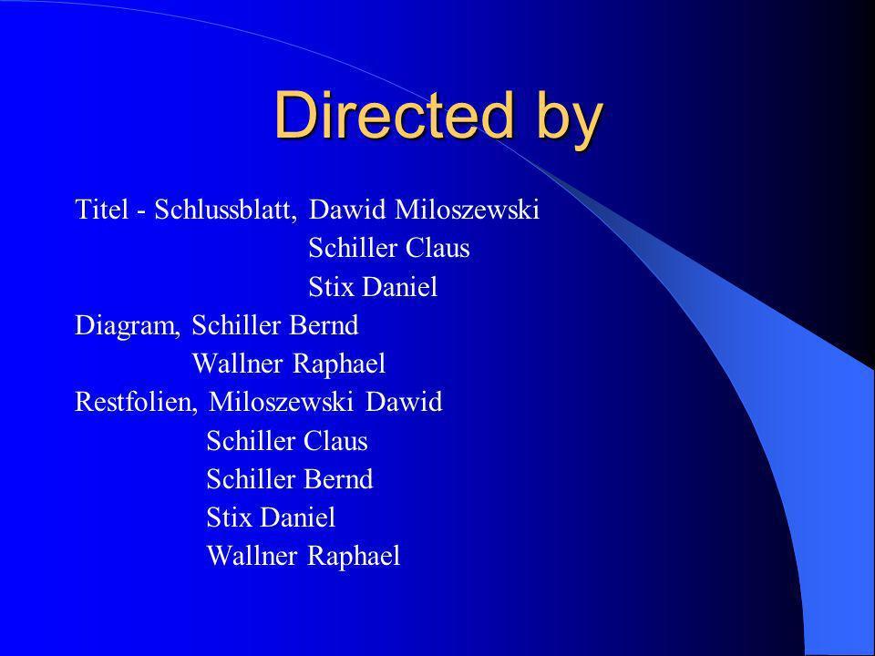 Directed by Titel - Schlussblatt, Dawid Miloszewski Schiller Claus