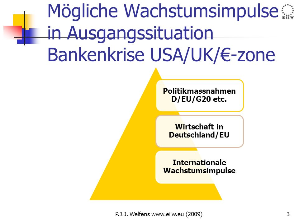 Mögliche Wachstumsimpulse in Ausgangssituation Bankenkrise USA/UK/€-zone