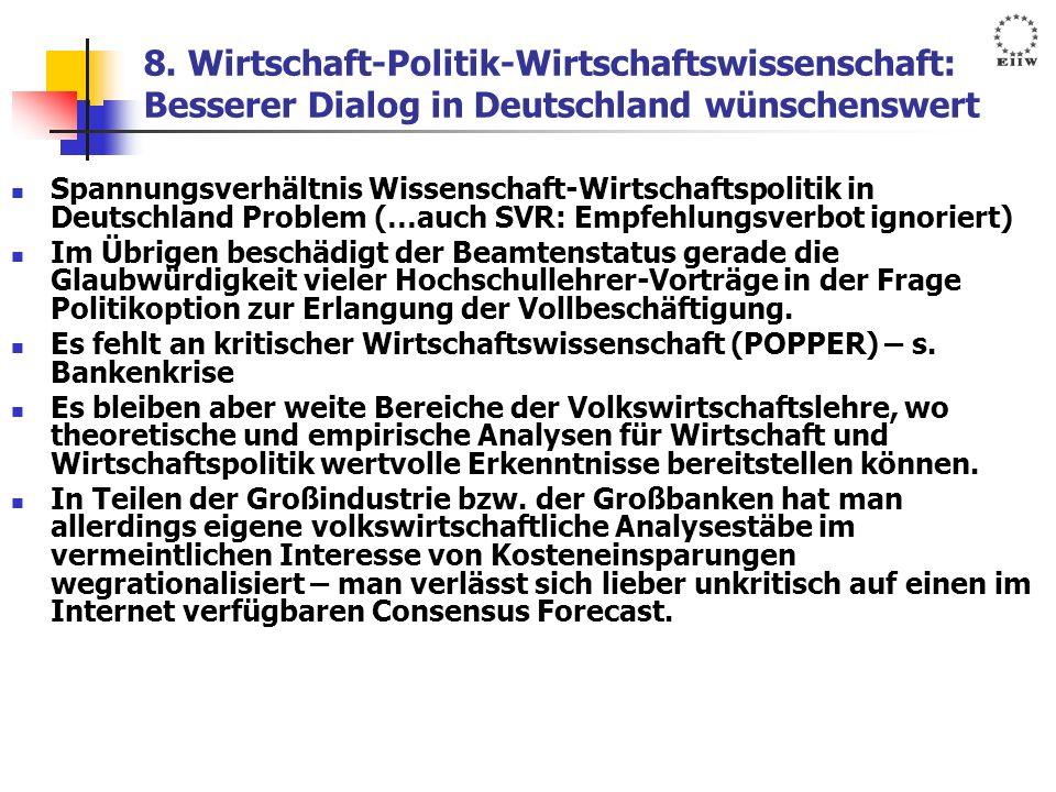 8. Wirtschaft-Politik-Wirtschaftswissenschaft: Besserer Dialog in Deutschland wünschenswert