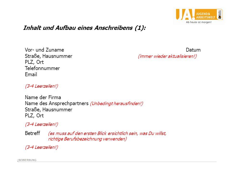 Inhalt und Aufbau eines Anschreibens (1):