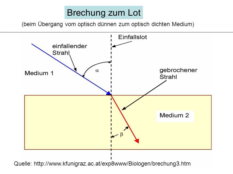 Brechung zum Lot (beim Übergang vom optisch dünnen zum optisch dichten Medium) Quelle: http://www.kfunigraz.ac.at/exp8www/Biologen/brechung3.htm.