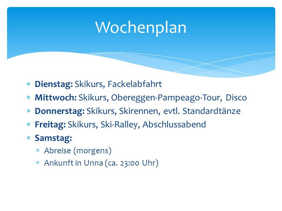 Wochenplan Dienstag: Skikurs, Fackelabfahrt