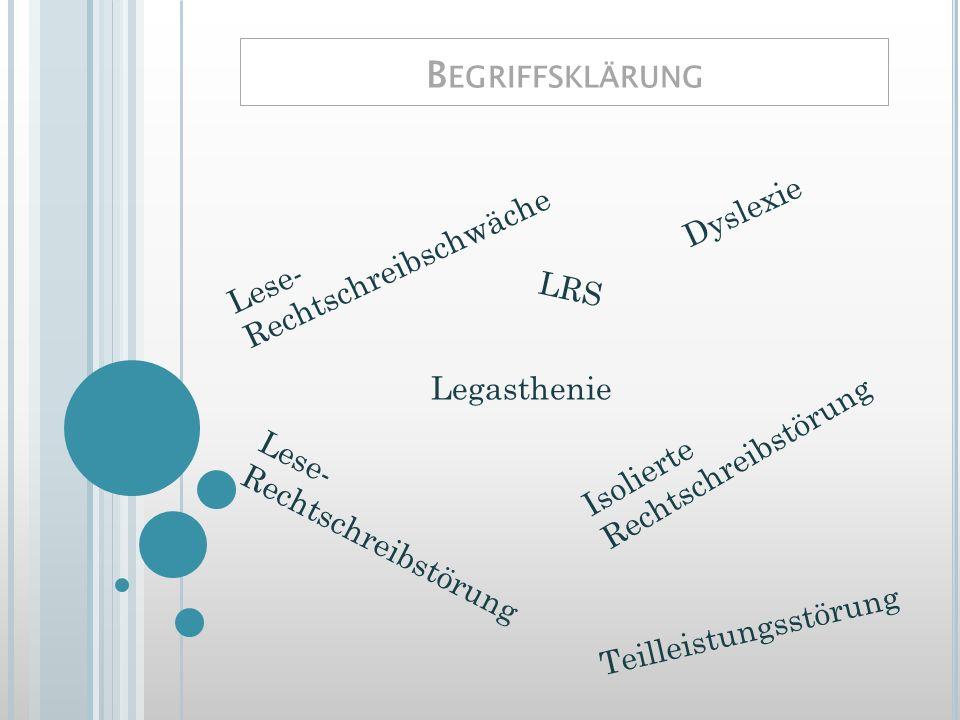 Begriffsklärung Dyslexie Lese-Rechtschreibschwäche LRS Legasthenie