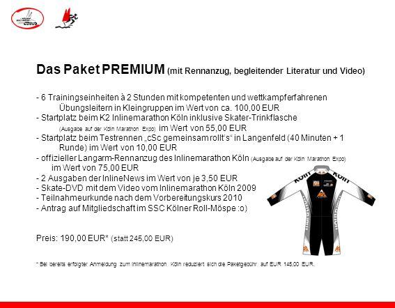 Das Paket PREMIUM (mit Rennanzug, begleitender Literatur und Video)