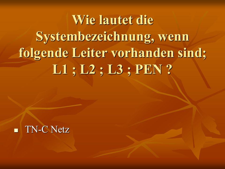 Wie lautet die Systembezeichnung, wenn folgende Leiter vorhanden sind; L1 ; L2 ; L3 ; PEN