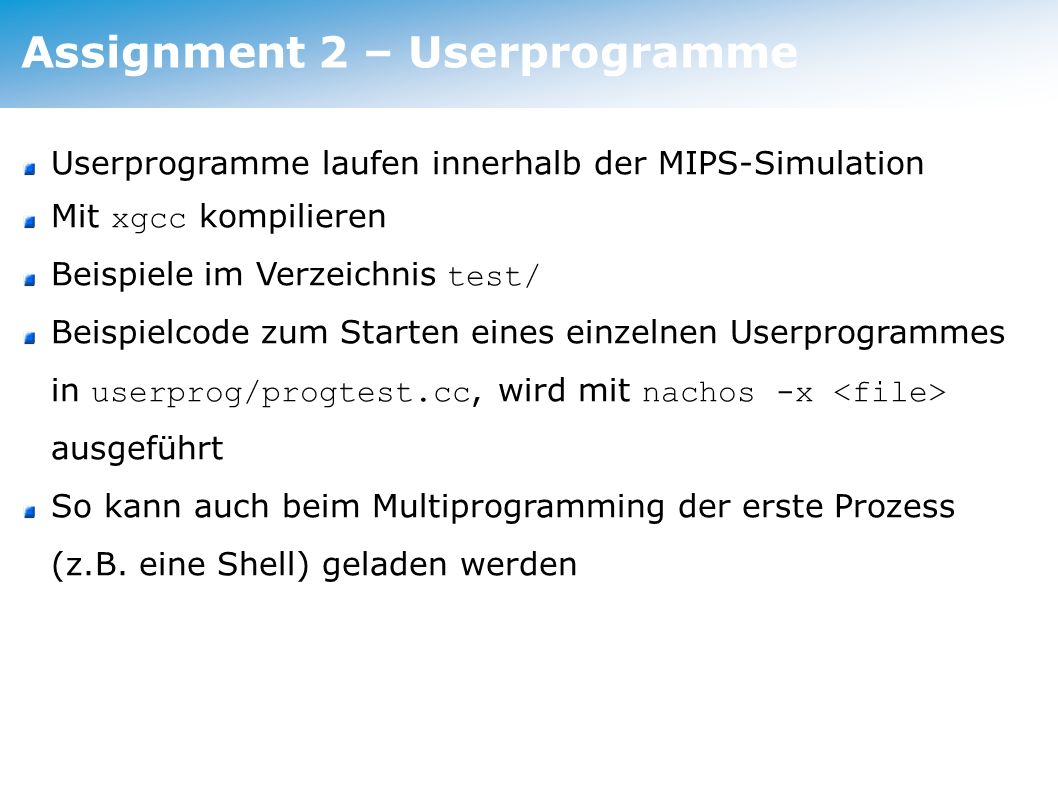 Assignment 2 – Userprogramme