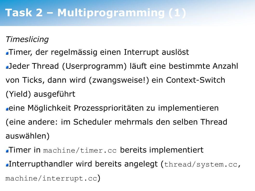 Task 2 – Multiprogramming Task 2 – Multiprogramming (1)
