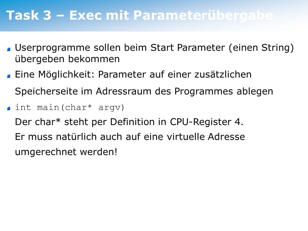 Task 3 – Exec mit Parameterübergabe