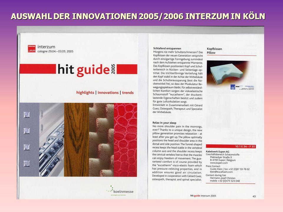 AUSWAHL DER INNOVATIONEN 2005/2006 INTERZUM IN KÖLN