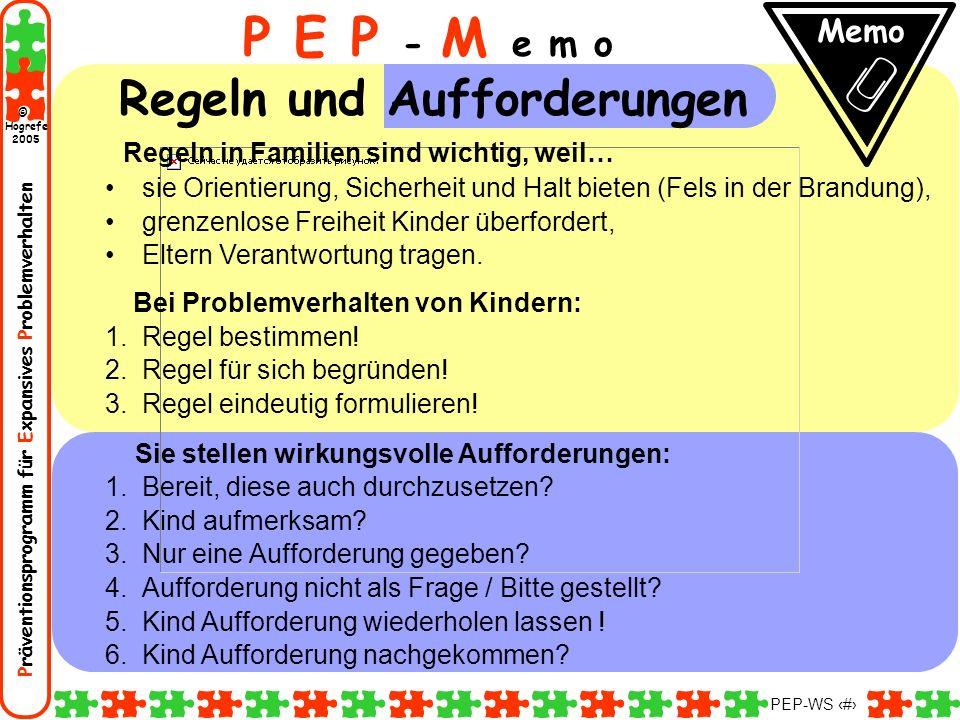 P E P - M e m o Regeln und Aufforderungen