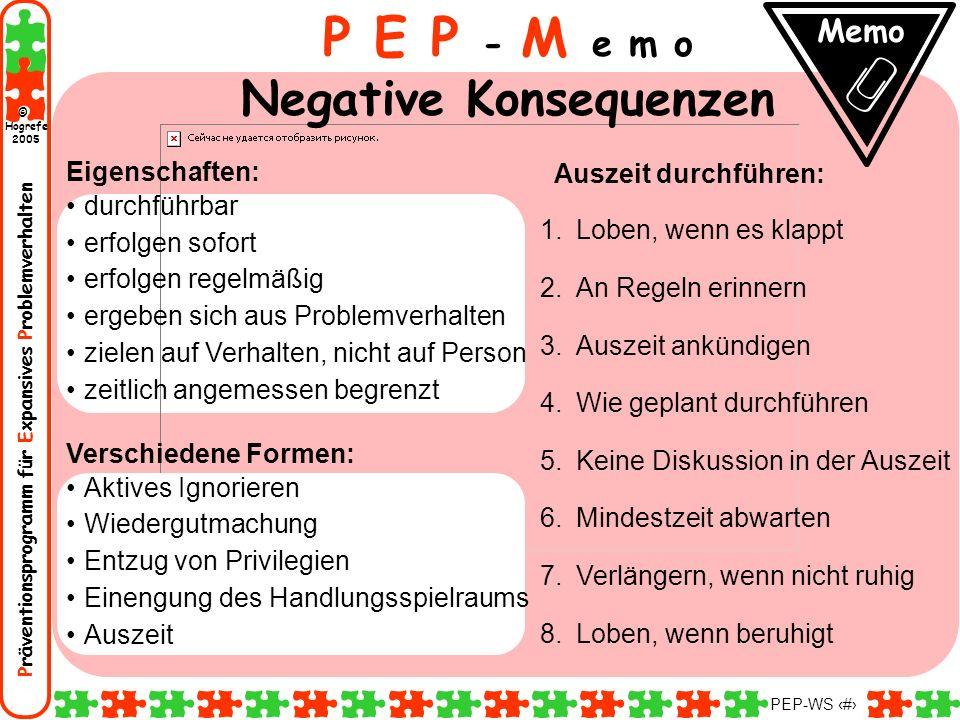 P E P - M e m o Negative Konsequenzen