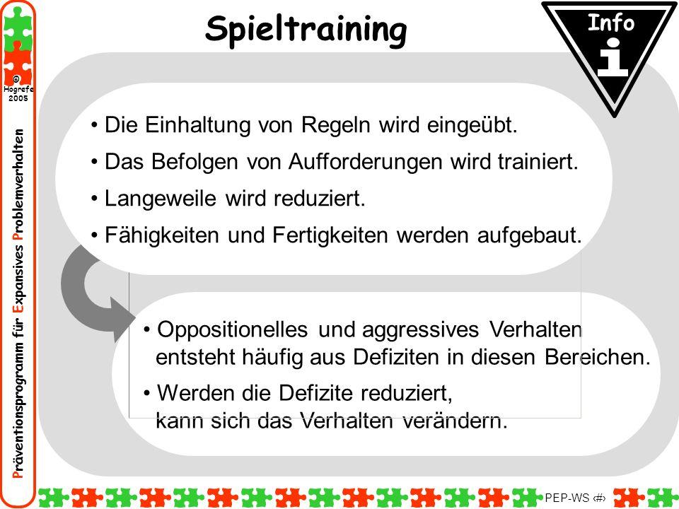 Spieltraining Info Die Einhaltung von Regeln wird eingeübt.