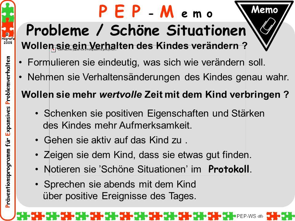 P E P - M e m o Probleme / Schöne Situationen Memo