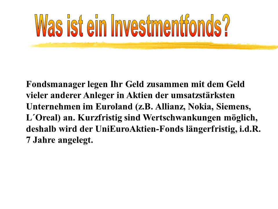 Was ist ein Investmentfonds