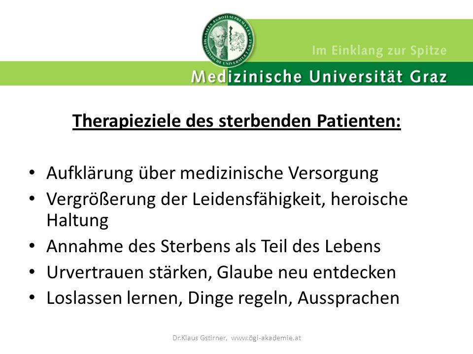 Therapieziele des sterbenden Patienten: