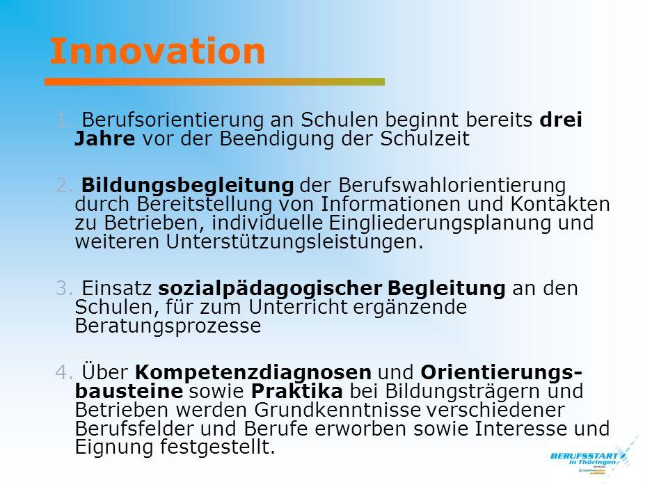 Innovation 1. Berufsorientierung an Schulen beginnt bereits drei Jahre vor der Beendigung der Schulzeit.