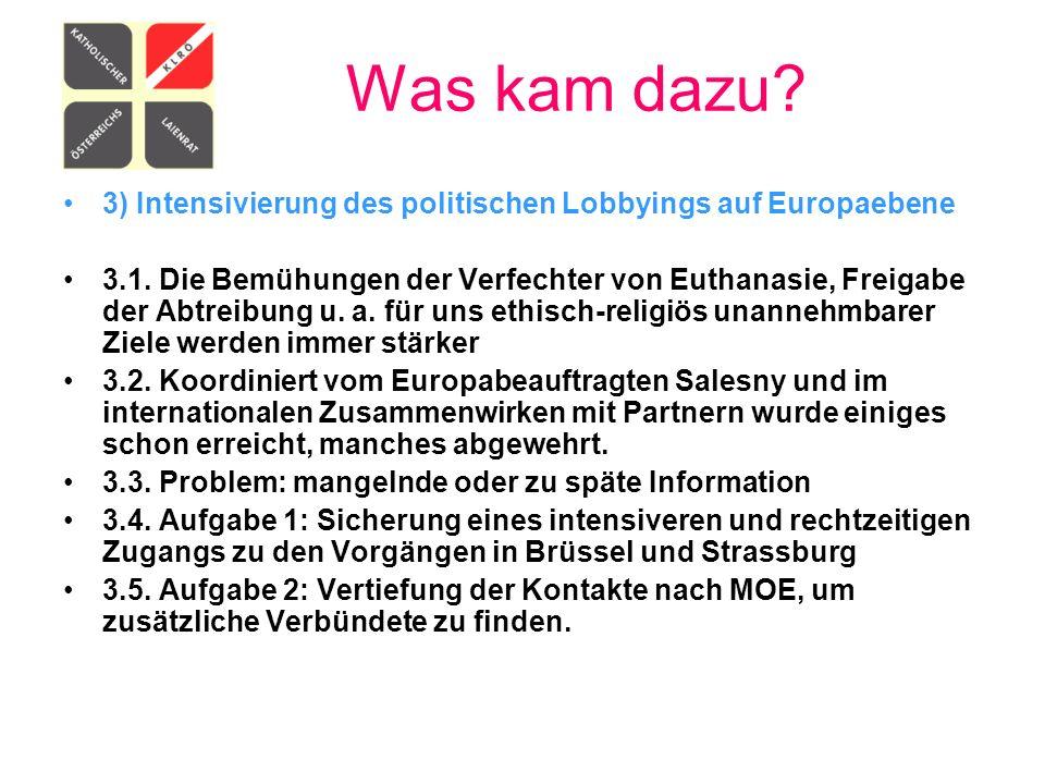Was kam dazu 3) Intensivierung des politischen Lobbyings auf Europaebene.