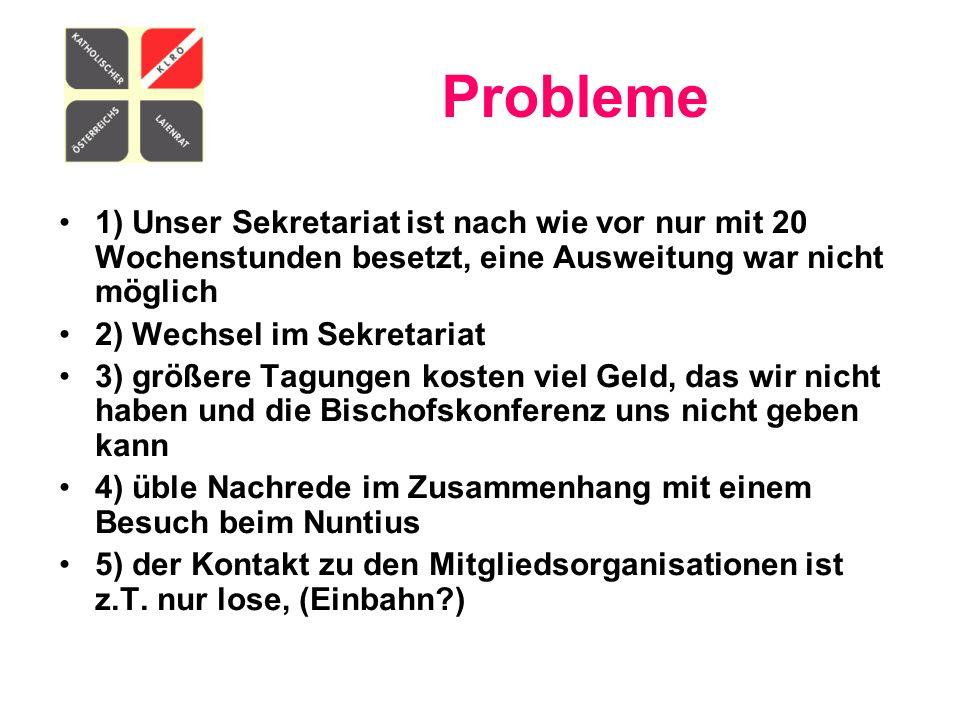 Probleme 1) Unser Sekretariat ist nach wie vor nur mit 20 Wochenstunden besetzt, eine Ausweitung war nicht möglich.
