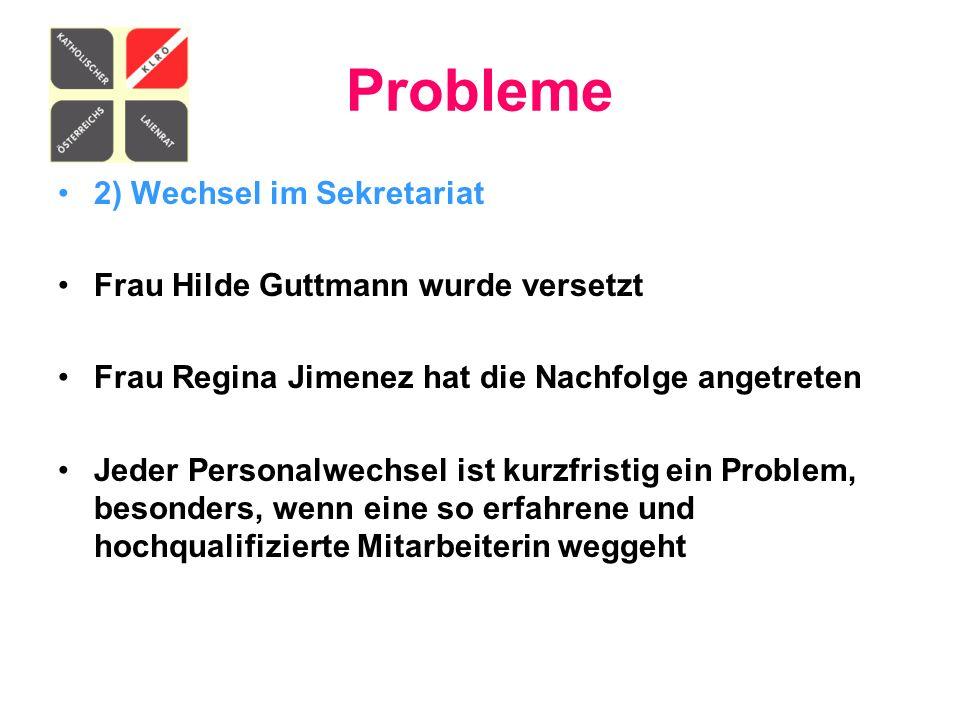 Probleme 2) Wechsel im Sekretariat Frau Hilde Guttmann wurde versetzt