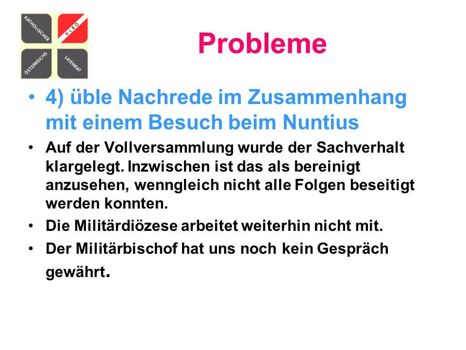 Probleme 4) üble Nachrede im Zusammenhang mit einem Besuch beim Nuntius.